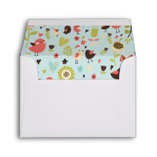 Happy Birds in Fields of Flowers Envelopes