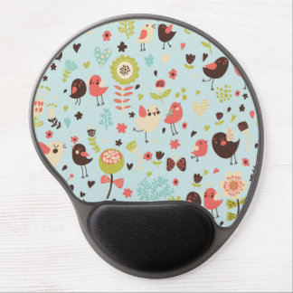 Happy Birds in Fields of Flowers Gel Mouse Pad