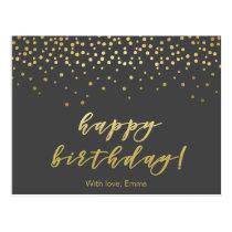 Happy Birhday  Gold Script & Confetti Personalized Postcard