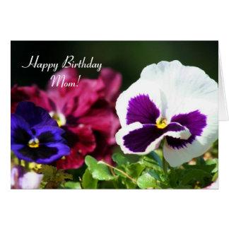 Happy Birhtday Mom Pansy Flowers greeting Card