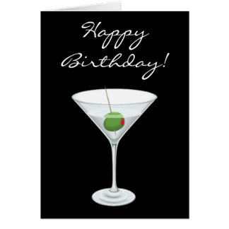 Happy Birhtday Simple Martini Glass with Olive Cards