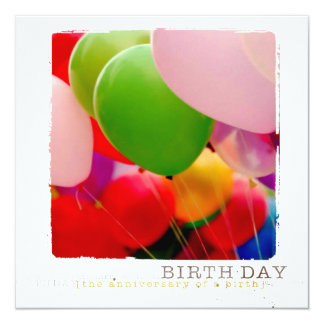 Happy Birtday Flat Photo Card Invitations