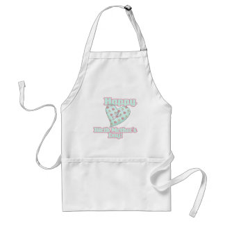 Happy Birth Mothers Day Ribbon Heart Adult Apron