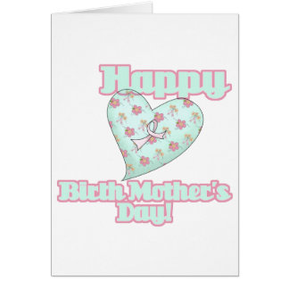 Happy Birth Mothers Day Ribbon Heart Greeting Card