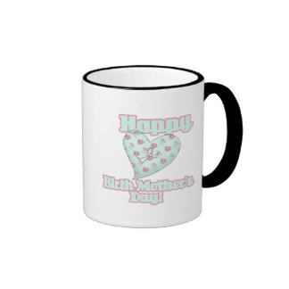 Happy Birth Mothers Day Ribbon Heart Ringer Coffee Mug