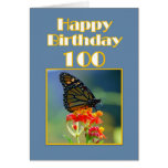 Happy Birthday 100th -  Monarch Butterfly Card