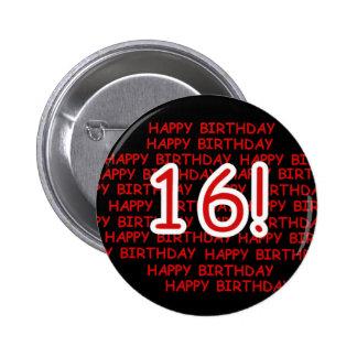 Happy Birthday 16 Pinback Button