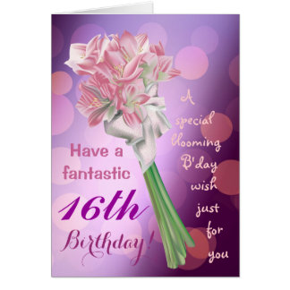Happy Birthday ! - 16th pink flowers Greeting card