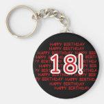 Happy Birthday 18  Basic Round Button Keychain