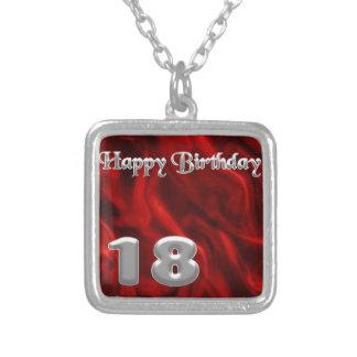 Happy Birthday 18 - red silk Square Pendant Necklace