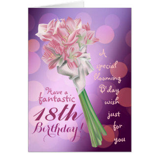 Happy Birthday ! - 18th pink flowers Greeting card