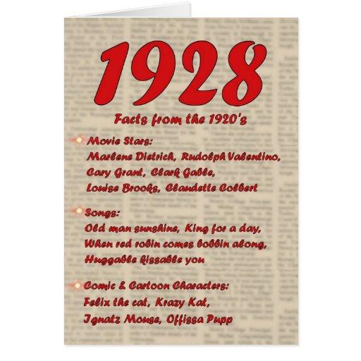 Happy Birthday 1928 Year of Birth 20's 20s twentie Greeting Card