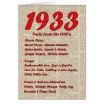 Happy Birthday 1933 Year of Birth 30's 30s thirtie Greeting Card
