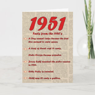 Happy Birthday 1951 Year Of Birth News 50s Card