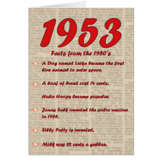 Happy Birthday 1953 Year of birth news 50's 50s Card