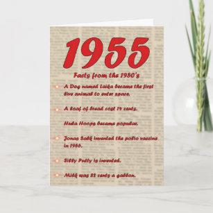Happy Birthday 1955 Year Of Birth News 50s Card