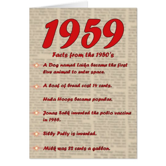 Happy Birthday 1959 Year of Birth 50's 50s fifties Card