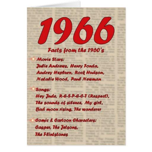 Happy Birthday 1966 Year of birth news 60's 60s Greeting Card