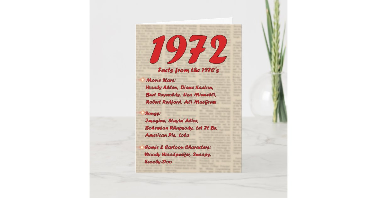 Happy Birthday 1972 Year Of Birth News 70s 70s Card Zazzle