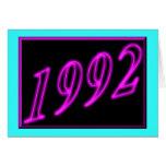 Happy Birthday 1992 Year of birth Neon 90's 90s Greeting Card