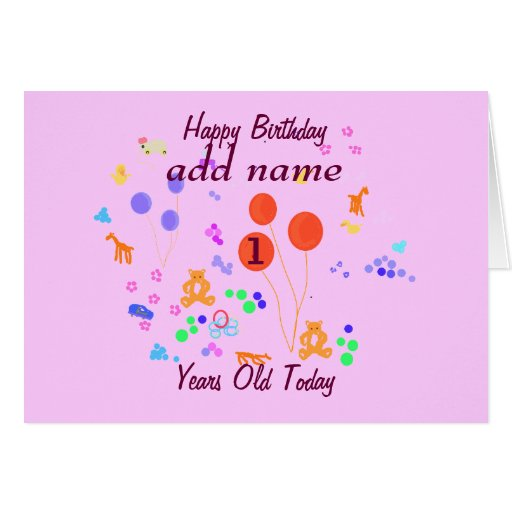 Happy Birthday 1 Year Old Add Name Change Age Greeting Happy Birthday Wishes For One Year