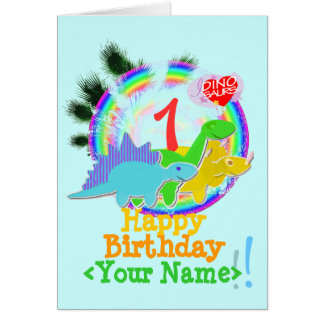 Happy Birthday 1 Year, Your Name Dinos Card