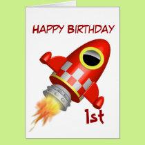 Happy Birthday 1st Rocket Ship Theme Card