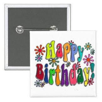 Happy Birthday 2 Inch Square Button