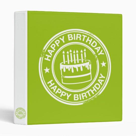Happy Birthday 2 tone rubber stamp effect -green- 3 Ring Binder