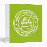 Happy Birthday 2 tone rubber stamp effect -green- Binders