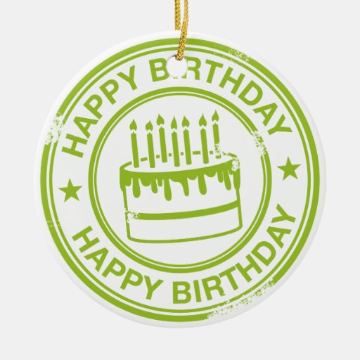 Happy Birthday 2 tone rubber stamp effect -green- Christmas Tree Ornament