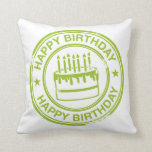 Happy Birthday 2 tone rubber stamp effect -green- Pillows