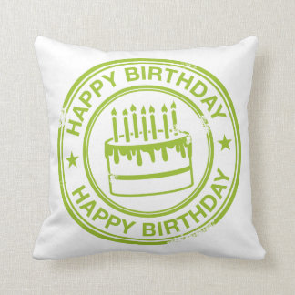 Happy Birthday 2 tone rubber stamp effect -green- Throw Pillow
