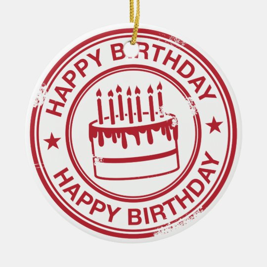 Happy Birthday 2 tone rubber stamp effect -red- Ceramic Ornament
