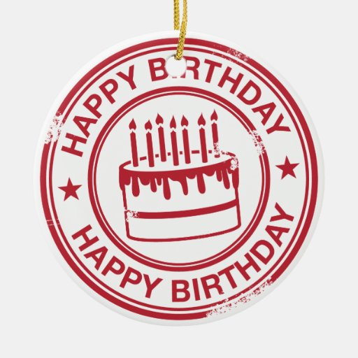 Happy Birthday 2 tone rubber stamp effect -red- Double-Sided Ceramic Round Christmas Ornament