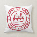 Happy Birthday 2 tone rubber stamp effect -red- Pillows
