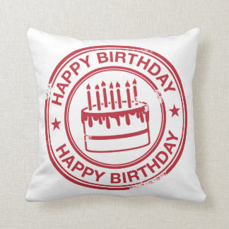 Happy Birthday 2 tone rubber stamp effect -red- Throw Pillow