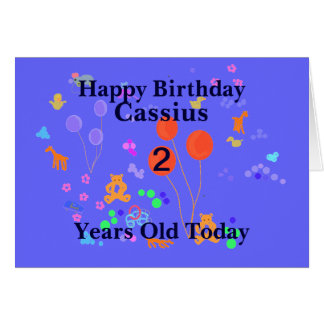 Happy Birthday 2 year old Add name Greeting Cards