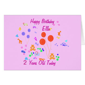 Happy Birthday 2 years old Card