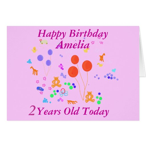Happy Birthday 2 Years Old Greeting Card Zazzle Happy Birthday Wishes For Two Year