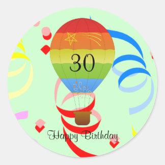 """Happy Birthday """"30"""" hot air balloon sticker"""