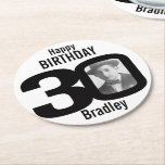 "Happy birthday 30 name and photo paper coasters<br><div class=""desc"">30th birthday party paper coasters. Great to add a personal touch to a surprise birthday party. Personalize with your birthday boys or girls photo in the 0 of 30 and personalize with your choice of name. Design by Sarah Trett.</div>"