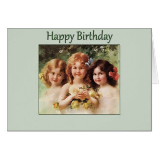 Happy Birthday-3 Vintage Girls Card