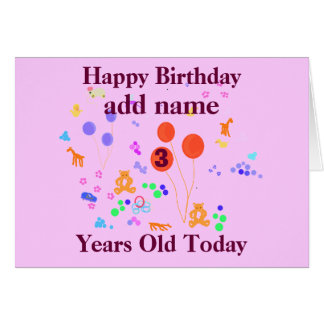 Happy Birthday 3 year old add name change age Card