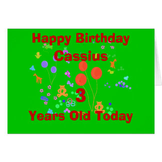 Happy Birthday 3 year old add name change age Greeting Cards