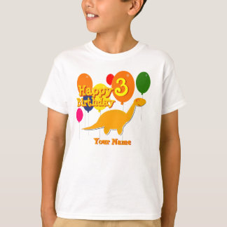 Happy Birthday 3 Years Balloon Dinosaurs T-Shirt