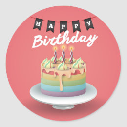 Happy Birthday 3D cake black bunting Classic Round Sticker
