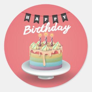 Happy Birthday 3D cake black bunting Classic Round Sticker