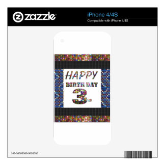 Happy Birthday 3rd Text Skin For The iPhone 4S