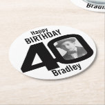 "Happy birthday 40 name and photo paper coasters<br><div class=""desc"">40th birthday party paper coasters. Great to add a personal touch to a surprise birthday party. Personalize with your birthday boys or girls photo in the 0 of 40 and personalize with your choice of name. Design by Sarah Trett.</div>"